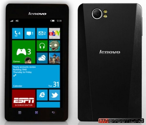 Появилось изображение первого смартфона Lenovo с ОС Windows Phone 8